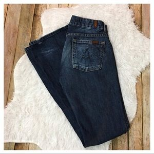 "7 FAMK ""A"" Pocket Distressed Flare Jeans - Size 27"